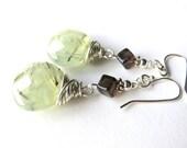 Green Prehnite Dangle Earrings, Wire Wrapped Gemstone Earrings, Smoky Quartz and Sterling Silver Boho Earrings, Celadon Green Earrings