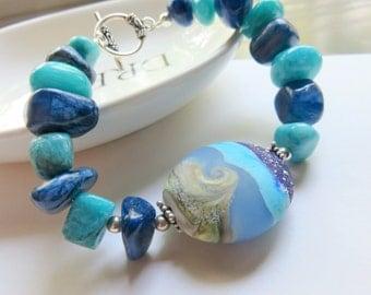 Blue Gemstone Bracelet, Chinese Quartz and Polymer Clay, Ocean Blue Nautical Jewelry, Man Made Puffy Round Focal Bead, Destination Wedding