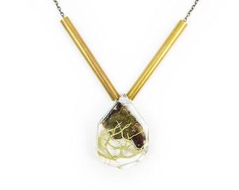 Bark Terrarium and Brass Necklace • Nature Necklace • Resin Pendant • Terrarium Jewelry • Moss Jewelry • Science Jewelry • Botanical Jewelry