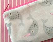 Cute Narwhal - Grey zipper pouch, coin purse, clutch, change purse