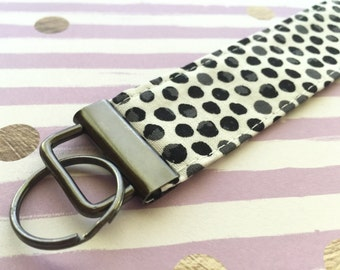 Polka Dots Wristlet Key FOB, Black Dots Key Lanyard, Key FOB Key chain