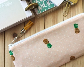 Pineapple Pencil case bag, zipper pouch clutch, planner accessories - with detachable tassel charm