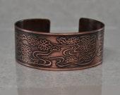 Wide Copper Cuff Bracelet with Flower Pattern Handmade