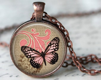Pink Monarch Pendant, Necklace or Key Chain - Choice of 4 Bezel Colors - One Inch Round