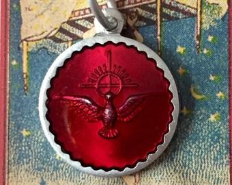 HOLY SPIRIT MEDAL Vintage Religious Enamel Red France