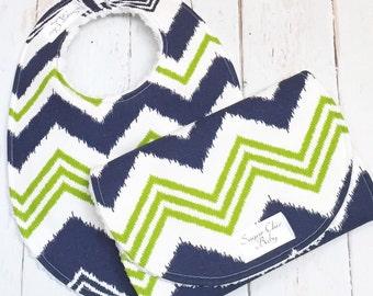 Chevron Baby Bib & Burp Cloth Set - Gender Neutral, Seattle Seahawks Baby Shower, Chenille Triple Layer, BLUE GREEN CHEVRON