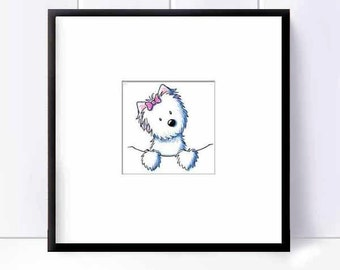 Westie Terrier Dog Art Original Mini KiniArt Illustration Ebsq
