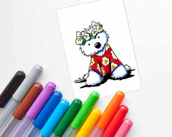 Hawaiian Westie ORIGINAL Dog Art Drawing ACEO