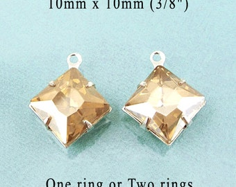 Light Colorado Topaz Glass Beads - 10x10 Square - Silver or Brass Settings - 10mm x 10mm - Diamond Shape - Glass Gems - One Pair