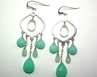 Kacey - Aqua chalcedony, aquamarine, milky quartz, and crystal quartz earrings