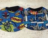Batman and Spiderman Baby Bib Set of 2 Infant Bibs with Velcro fastening