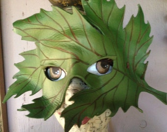 Spring Green leaf mask, leather mask by Faerywhere