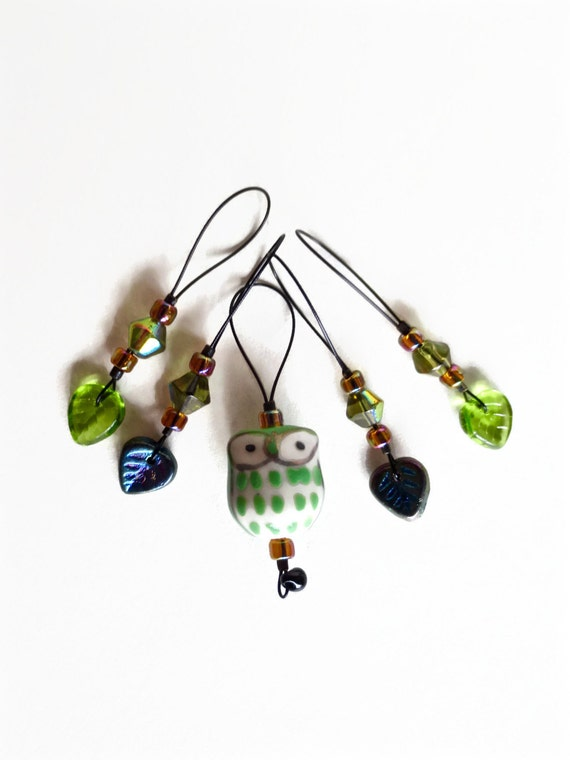 knitting stitch markers / baby green owl woodland / gift / row counter tool / snag free stitchmarkers / popular knitter gift tool