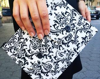 Damask Women's Wristlet, Wallet Wristlet, iPhone Wristlet, Ladies Wristlet Purse, Large Wristlet, Wallet Purse