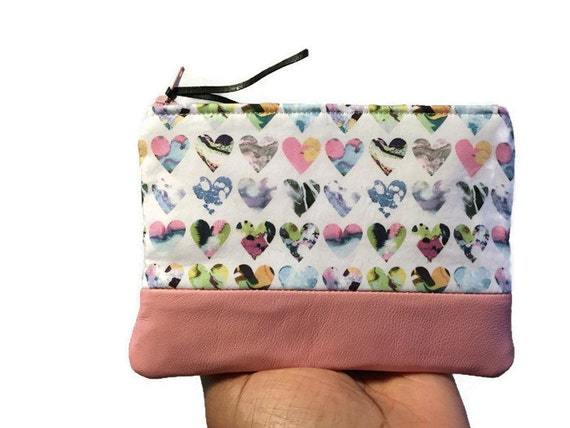 Marble Hearts Leather Pouch, Coin Purse, Zipper Pouch, Small Coin Wallet, Change Purse