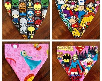 Pet Bandana - Marvel, Super Mario, or Wonder Woman