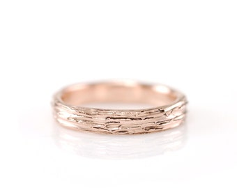 Tree Bark Wedding Ring - 14k Rose Gold Bark Texture Wedding Band - 3mm - made to order in recycled metal