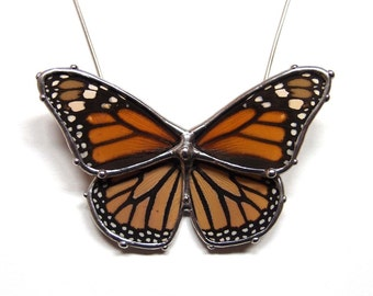 Real Monarch Butterfly Necklace - Statement Necklace - Butterfly in Flight Design