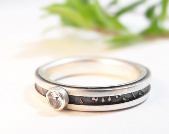 Womens Ring, White Sapphire Ring, Sterling Silver Ring, Engagement Ring, Size 6.25, Skinny Band, Sapphire Engagement, Handmade Ring