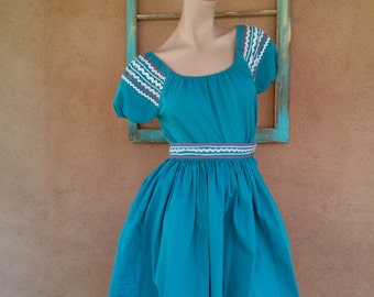 Vintage 1960s Mexican Patio Dress Teal Square Dance 2 PC X Small W22 2016356