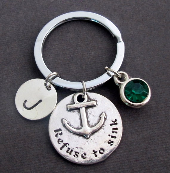 Refuse to Sink Personalized Key Chain, Anchor Key Ring,Nautical Keychain, Faith Keyring, Survivor Keychain, Sailor Jewelry,FREE SHIPPING USA