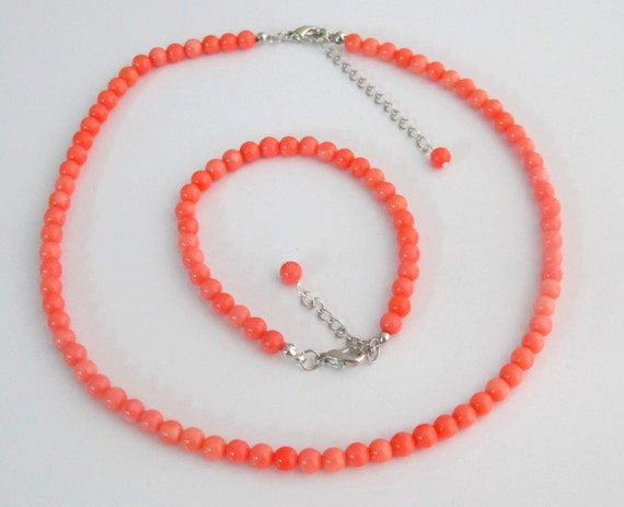 Coral Orange Pearl Necklace,Coral Orange Pearl Bracelet, Bridesmaid gift,Wedding Jewelry, Good Quality Coral Orange Set, Free Shipping USA