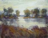 Autumn Landscape River Moody Original Pastel Painting Karen Margulis 8x10