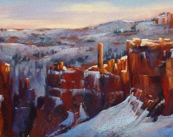 SOUTHWEST Bryce Canyon in Winter Landscape ART Original Pastel Painting