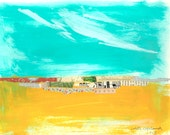 Original mixed media painting on paper, landscape, collage, Featured in SOMERSET APPRENTICE