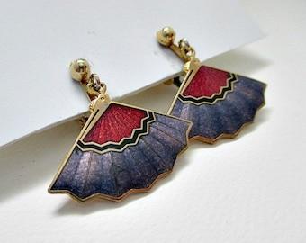Cloisonne Fan Vintage Dangle Pierced Earrings - 5.00 Vintage Jewelry