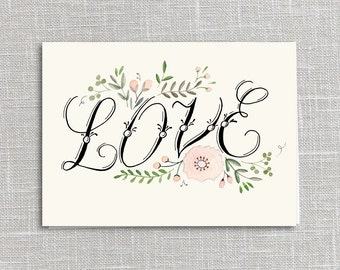 Love Printable Notecard Instant Download PDF