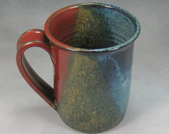 Red Blue and Yellow 16 Ounce Ceramic Coffee Mug Coffee Cup Pottery Coffee Mug Wheel Thrown Pottery 34