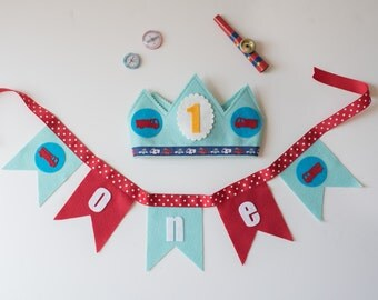 Party Pack  Fire Truck & Bunting - Birthday - Waldorf felt birthday crown - boy birthday crown