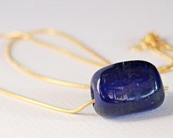 Ocean Blue Glass Brass Necklace