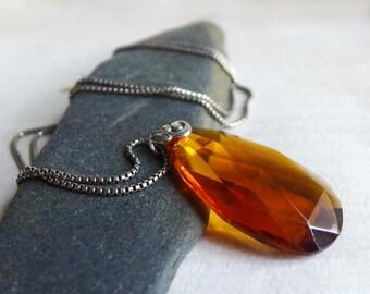 Amber Chandelier Crystal Necklace, Topaz Honey Vintage Romantic Chandelier Crystal Sterling Silver, Big Crystal Chandelier Drop Pendant