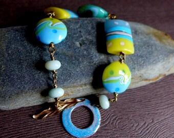 Aqua Blue Yellow Lampwork Bracelet, Summer Ocean Sea Beach Jewelry, Turquoise Yellow Green Bead Bracelet, Glass Gemstone Blue Glass Bracelet