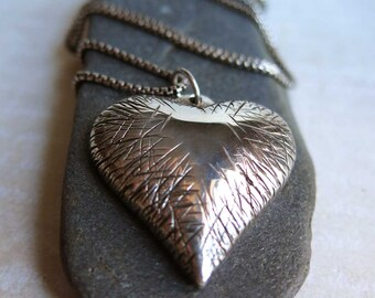 Sterling Silver Heart Necklace, Scarred Battered Bruised Heart, Experienced Wise Heart necklace, Chunky Silver Heart Necklace