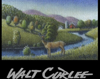 Artist Trading Card, Original ACEO, Deer Stream And Rollig Hills Country Landscape Oil Painting, Folk Art Americana Picture, Appalachian