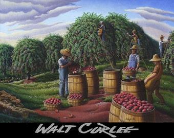 Original Oil Painting, Folk Art Fall Decor, Apple Harvest Country Farm Landscape, Americana, American Walt Curlee