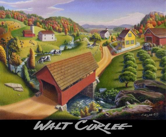 Appalachian Covered Bridge Country Folk Art Farm Life Landscape, Giclee Canvas Print, Rural Americana, pennsylvania