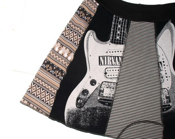Nirvana Upcycled Tee Skirt womens tshirt skirt XXL 2X 90s grunge Music women skirt tan black striped OOAK upcycled clothing plus size curvy