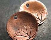 16mm Antiqued Copper Hammered and Lotus Stamped Discs - 1 pair