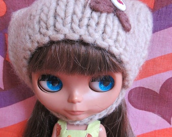 Odds & Ends SALE - Blythe:  Brown fuzzy hat, helmet with embroidery, button trim