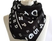Eye Chart Print scarf. Black linen weave pashmina scarf. Perfect ophthalmologist, eye doctor, glasses wearer gift. For men or women.