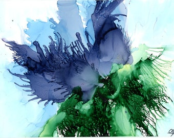 Flower painting watercolor and inks, mixed media art, contemporary art, alcohol ink art, stylized flower, modern art, blue floral
