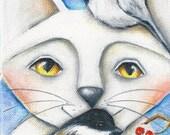 "Cat, Bird, Chickadee, PRINT on Wood, 5""x3.5"", mini art, gift for her, Valentine love Deb Harvey Artwork stocking stuffer Wall decor"