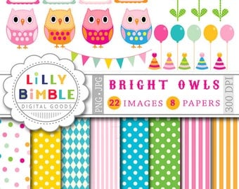 40% off Birthday Owl clipart and digital papers balloons, owls, polka dots, flowers, frames, DIGITAL DOWNLOAD