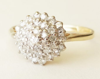 Vintage Diamond Cluster Ring, 9k Gold 36 Diamond Engagement Ring Size US 5.25