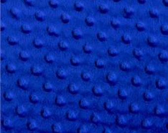 Top Quality Plush Royal Blue Minky Dimple Dot Fabric By The Yard
