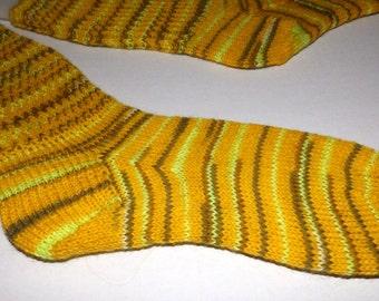 Knit socks . Hand knit socks . Yellow socks . Striped socks . Wool nylon blend socks . Handknit wool socks . Handmade in Canada . Medium